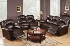 Living Room 3 Piece Motion Sofa Loveseat Rocker Recliner Espresso Bonded Leather