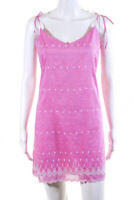 Tocca Womens Embroidered Floral Tie Strap Sheath Dress Pink Size 8