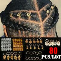 80pcs Hair Jewelry Braid Rings Pendants Dreadlocks Beads Charms Decor Accessory
