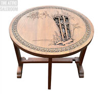 Charming Antique Vintage Oriental Chinese Circular Carved Folding Coffee Table