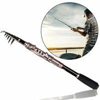 Portable Carbon Fiber Telescopic Fishing Rod Travel Sea Spinning Fish Hand Pole
