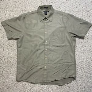 John Henry Mens Dress Shirt sz L Tan Short SLeeve Pocket Lightweight Ultra Feel