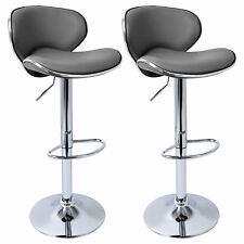 2 X Bar Stools Barstool Kitchen Breakfast Adjustable Faux Leather Chair U024 Grey