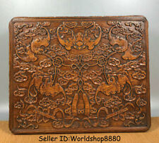 """14"""" Old Chinese Huanghuali Wood Carved Dynasty Bat Birds Jewelry box jewel case"""