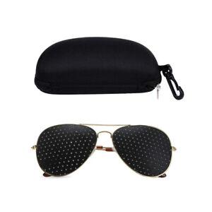 Unisex Gold Frame Pinehole Sunglasses Foldable Anti-fatigue Eye Protection Black