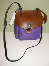 Dooney & Bourke IN693 PP Small Pocket Crossbody Purple Nylon & Brown Leather NWT