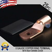 "25 PCS 1/0 AWG 0 GA Copper Ring Terminal Heat Shrink 5/16"" Hole Lug Bare US"