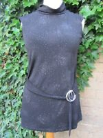 Multiblu-Black Sparkly Ladies Hight Neck Top With Side Buckle Size XL