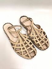 Maryam Nassir Zadeh Auth Flats Beige Nude Cage Ankle Strap sandals rare slide