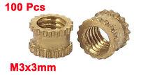 M3x3mm Threaded Round Metal Knurl Thread Insert Nuts Brass Tone 100Pcs