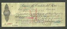 $50 Check 1946 Bank De Credito Del Peru The Chase National Bank No.19059 W/Stamp