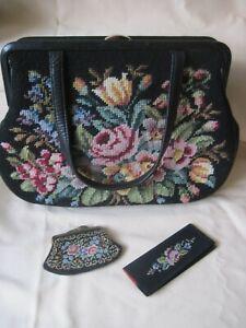 Gobelintasche, Damenhandtasche, 32 x 23 cm, Blumendekor beidseitig,Vintage ++