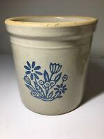 Vintage Stoneware Pottery Crock  Blue Flowers 1 Gallon Country Farmhouse Pot USA
