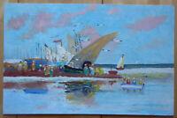 Alte Malerei Öl Marina Mit Boot Bild Vintage Meer Spanien '900 MD4