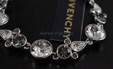 Givenchy Flex Bracelet Clear & Smoke Round Swarovski Elements Formal Bridal New