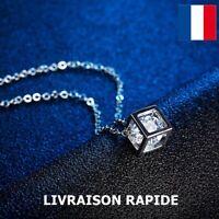 Collier Pendentif Cube Bijou Femme Cadeau Soirée Anniversaire Fête Des Mères