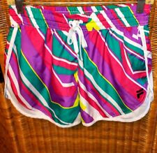 FILA SPORT WOMENS RUNNING SHORTS S LINED DRAWSTRING COLORFUL ABSTRACT PRINT NWOT