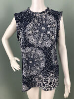 NWT Women's Karl Lagerfeld Floral Tile Print Mock Neck Blouse Top Sz Large