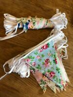 CLEARANCE HANDMADE FABRIC BUNTING.SHABBY n CHIC,VINTAGE WEDDING FLORALS FROM £3.