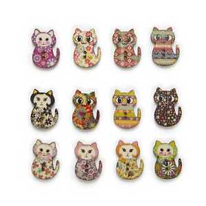 30pcs Cat Wood Buttons for Sewing Scrapbooking Clothing Headwear Decor 30x20mm