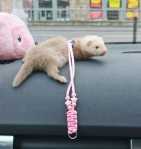 Figure Of 8 paracord Small animal Harness set Personalised Hand Made Ferret red