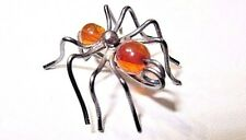 UNIQUE HANDCRAFT SILVER SIMULATED AMBER ANT PIN VINTAGE INSECT BUG COLLECTIBLE