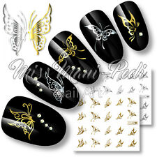 Nail Art Water Transfers Decals Stickers Butterfly Silver/Gold Butterflies C042