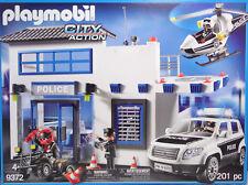 Playmobil 9372 station de police avec d'atterrissage Heli Voiture Quad 4 personnages portable NEUF