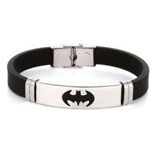 Men's Punk Black Rubber Stainless Steel Bat Wristband Clasp Cuff Bangle Bracelet