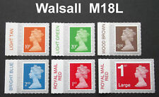 NEW 2018 WALSALL M18L Set of 6v Machin SINGLE STAMPS with COLOUR TABS