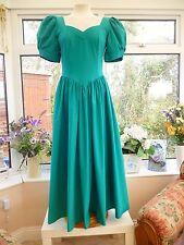 VINTAGE *LAURA ASHLEY* JADE GREEN SWEETHEART NECKLINE & PLEAT DETAIL DRESS Sz 8