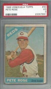 1966 Topps Venezuela baseball card #30 Pete Rose, Cincinnati Reds graded PSA 3