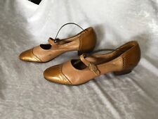 Vintage 50s Footrest Camel Leather & Patent Brogue Style Low Stacked Heel 81/2Aa