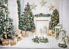 10x8ft Christmas Trees Gifts Fireplace Garland Photo Background Vinyl Backdrop