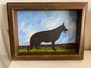 VINTAGE FOLK ART BLACK GERMAN SHEPHERD OIL PAINTING FRAMED OOAK!