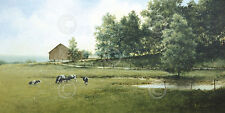 FARM LANDSCAPE ART PRINT - Country Lane - Ray Hendershot Cow Cattle Poster 13x19