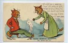 (Lc4044-454) Louis Wain, Cat Card, You're Always Smoking, Pipe, 1907 Used VG