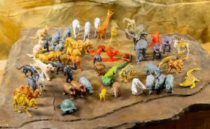 53 Vintage Plastic & Hard Rubber Toy Farm & Wild Animals 1970s, 1980s