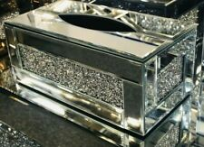 ITALIAN MIRROR TISSUE BOX HOLDER COVER DIAMANTE CRYSTAL CRUSHED DIAMOND NAPKINS