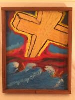 Retro Framed Religious Cross Oil Painting Vintage