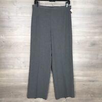 Talbots Women's Size 8 Wide Leg Dress Pants Charcoal Gray Side Zip NEW