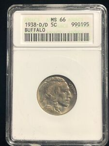 1938 D/D D Over D Buffalo Indian Head Nickel 5 Cents ANACS MS 66 Key Error