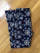 Womens Leggings One Size Navy Red White Snowflake Holiday Christmas EUC