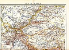 1899 Turkestan Mongolia Tibet Afghanistan China Pakistan India Antique Map