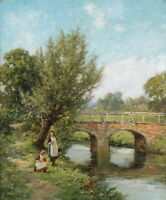 Large oil painting nice young girls playing by the river landscape on canvas 36""