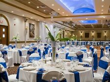 "100 Royal Blue Satin Chair Cover Sash Bows 6"" x 108""  Wholesale Banquet Wedding"
