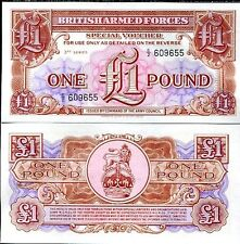 BRITISH ARMED FORCES 1 POUNDS 3rd series 1956 P M29 UNC
