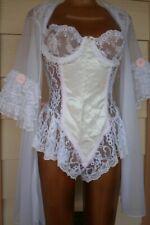 2-pc Vintage EMIL BOLE Satin Teddy Bodysuit + Chiffon Nylon Babydoll Robe Set M
