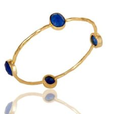 Natural Blue Aventurine 18K Gold Plated 925 Sterling Silver Bangle Jewelry