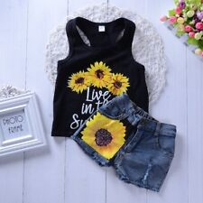 Kids Baby Sunflower Outfits Clothes Suit Vest Racerback Tank Top + Denim Shorts
